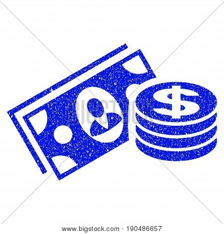 Grunge Money Cash icon with grunge design and dust texture. Unclean vector blue pictogram for rubber seal stamp imitations and watermarks. Draft sign symbol.