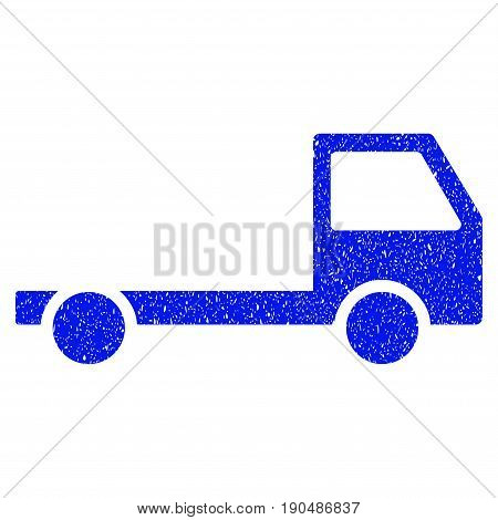 Grunge Truck Chassis icon with grunge design and scratched texture. Unclean vector blue pictogram for rubber seal stamp imitations and watermarks. Draft sign symbol.