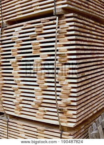 Wood Planks For Timber Construction In Stock.  Wooden Boards