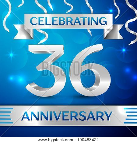 Thirty six Years Anniversary Celebration Design. Confetti and silver ribbon on blue background. Colorful Vector template elements for your birthday party. Anniversary ribbon