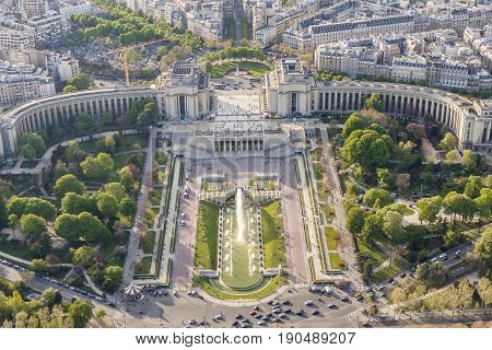 Aerial view from Eiffel Tower on Champ de Mars - Paris France.