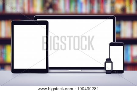 Open laptop, smartphone tablet pc and smartwatch template for responsive design presentation. Responsive mockup screens. All gadgets in full focus.
