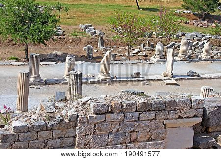 Curetes street in Ephesus the ancient Greek city in Turkey. Ephesus was famed for the Temple of Artemis one of the Seven Wonders of the Ancient World