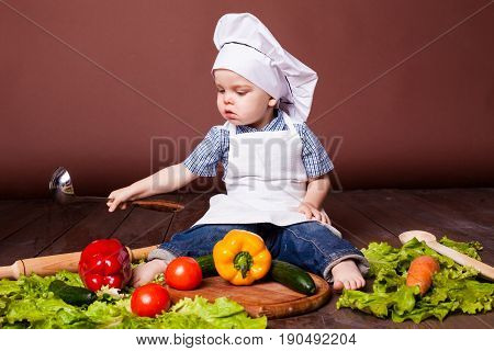 little boy Cook carrots, peppers, tomatoes lettuce cucumber