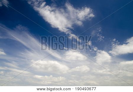 Blue summer sky and white clouds natural background