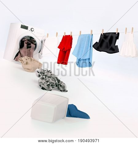 Cloth hanging on a rope coming out of the washing machine dirty cloth jump into the washing machine. Square. 3D illustration