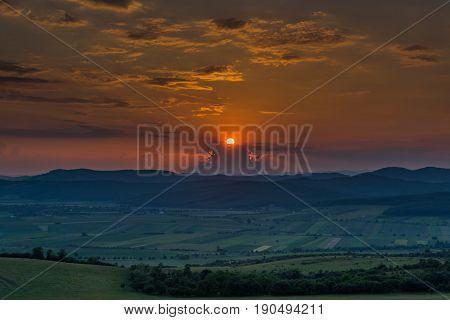 Beautiful and amazing sunset on the country side
