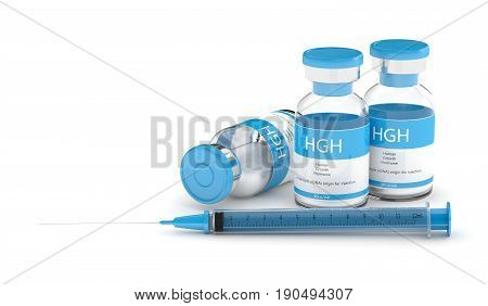 3D Render Of Hgh Vials With Syringe Over White