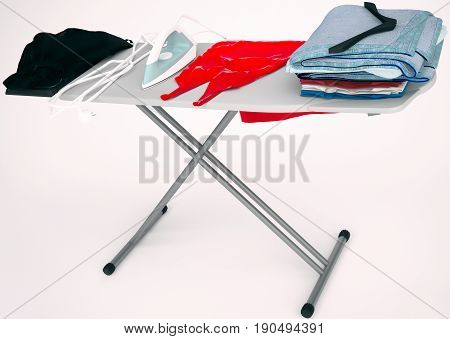 Iron red dress and cotton stack of folded clothes on ironing board isolated on light gray background. 3D illustration