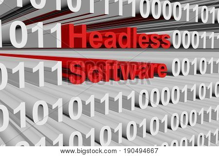 Headless software in the form of binary code, 3D illustration