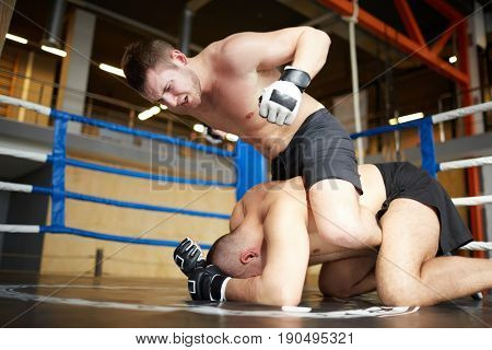 Portrait of professional wrestlers fighting in boxing ring: man hitting opponent  tackling him to floor, sitting on top