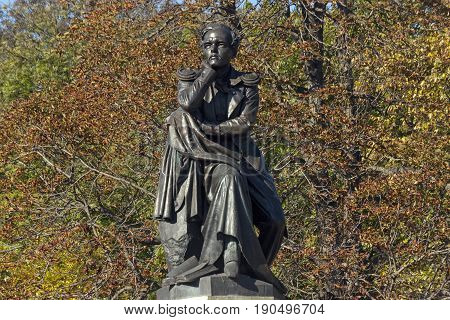 PYATIGORSK, RUSSIA -OCTOBER 12, 2014:The best in the Russian monument poet Mikhail Yurievich Lermontov in Pyatigorsk, Northern Caucasus,Russia (sculptor Opekushin 1889)