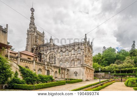 BUCACO,PORTUGAL - MAY 12,2017 - Palace of Bucaco in Portugal. Palace was built in Neo Manueline style between 1888 and 1907.