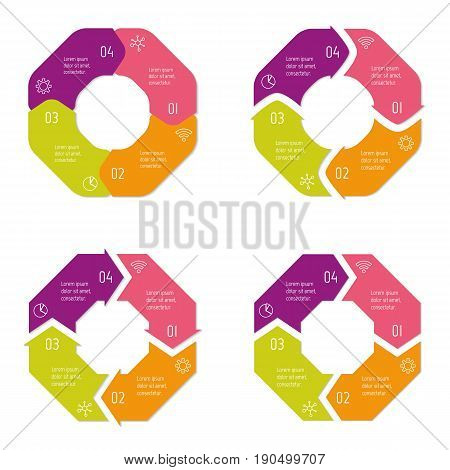 Set of four connected polygonal infographic diagram. Circular charts with 4 options. Paper progress steps for tutorial with 4 parts. Isolated business concept sequence banners. EPS10 workflow layouts.