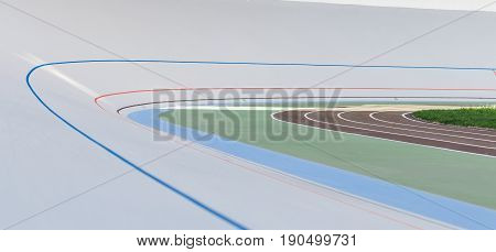 Professional beautiful cycle track. Velodrome of white color.