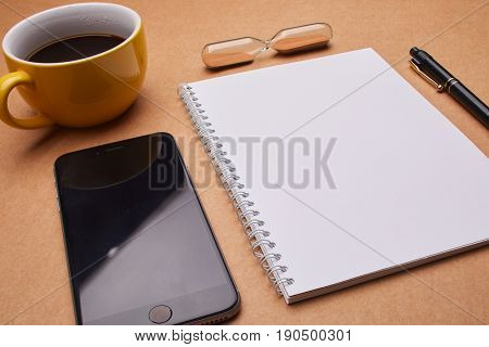 cup of coffee on the office table