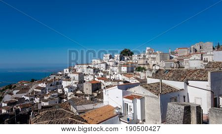 Panoramic sea and ancient Italian village of southern Italy view. Characteristic white houses and dark tiles on the rooftops in the Puglia with the blue sky in the background