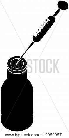 Syringe with vaccine on white background. Vector illustration.