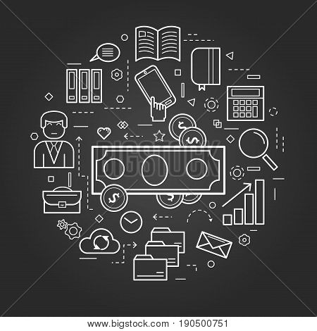 Vector round concept of Financial Freedom or accounting service in thin line style. Banknote and coins, businessman, device and computer icons on a black chalkboard