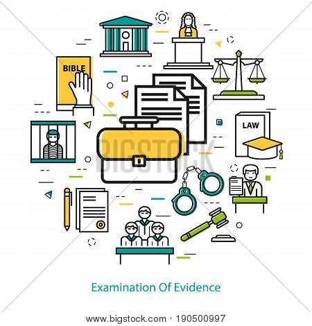 Vector round web banner of judiciary service, examination of evidence, process documentation in thin linear concept. Handcuffs and legal icons of documentation, court, attorney, jury and prison