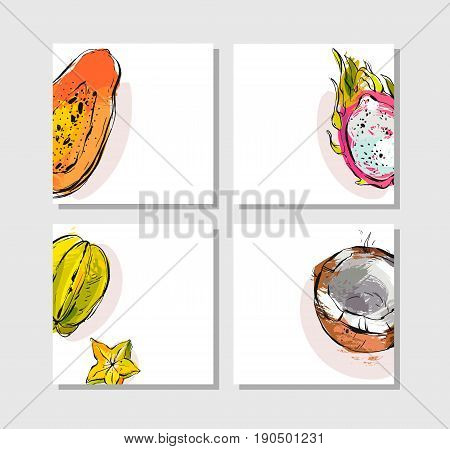 Hand drawn vector abstract artistic freehand textured unusual cards set collection template with exotic tropical fruits papaya, dragon fruit, coconut and carambola isolated on white background.
