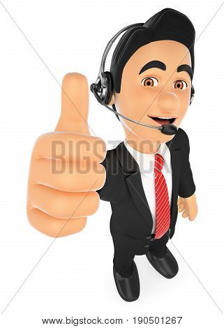 3d working people illustration. Call center employee with thumb up. Isolated white background.