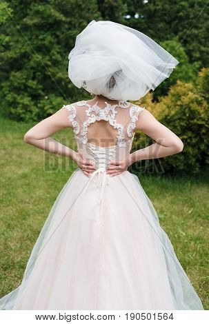 Veil Makes A Hat On Bride's Head While She Holds Her Hands On Back. Bride In Veil In The Park Outdoo