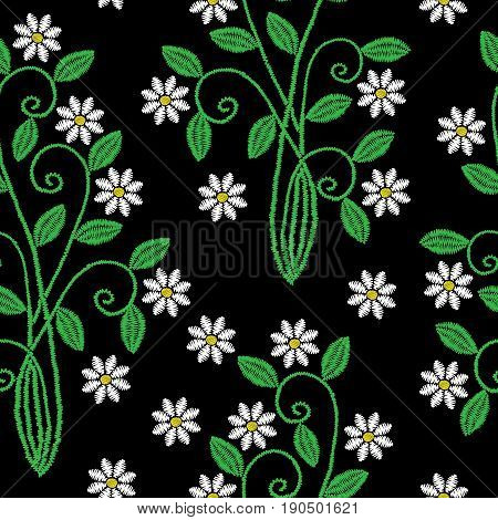 Seamless pattern with embroidery stitches imitation white flower. Folk flower embroidery pattern for printing on fabric paper for scrapbook gift wrap.