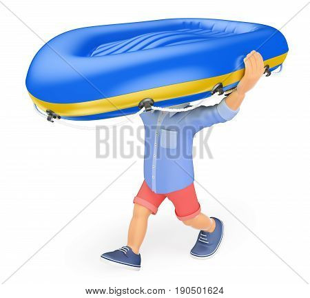 3d illustration. Man in shorts carrying an inflatable boat on his head. Isolated white background.