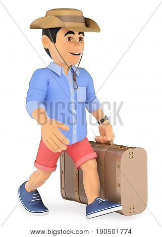3d illustration. Man in shorts walking with a retro suitcase and a cap. Isolated white background.