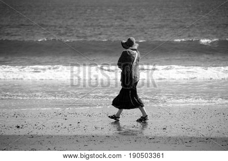Beachgoer At Sand Beach In Ocean Shores