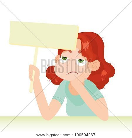 Woman with unhappy face holding an empty board on a white background