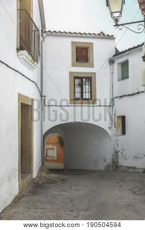 Stone and whitewashed houses of Trujillo street Extremadura Spain. Old town