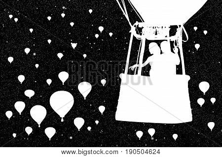 Lovers in balloon at night. Vector illustration with silhouette of loving couple under starry sky. Landscape with flying aerostats. Inverted black and white