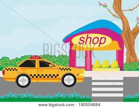 Taxi in front of the shop , vector illustration