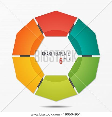 Polygonal circle chart infographic template with 6 parts, options, steps for presentations, advertising, layouts, annual reports. Vector illustration.