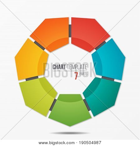 Polygonal circle chart infographic template with 7 parts, options, steps for presentations, advertising, layouts, annual reports. Vector illustration.