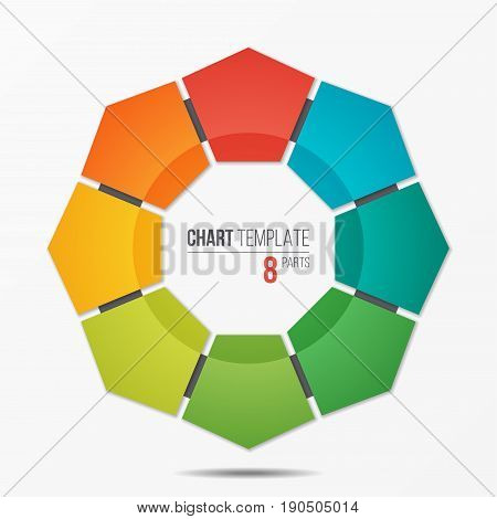 Polygonal circle chart infographic template with 8 parts, options, steps for presentations, advertising, layouts, annual reports. Vector illustration.