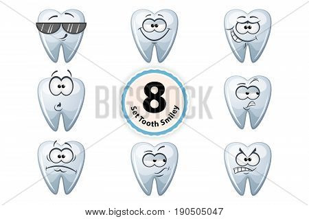 Set cartoon tooth smiley satisfaction, self-confidence, surpride, grin, oh suspiction glasses anger