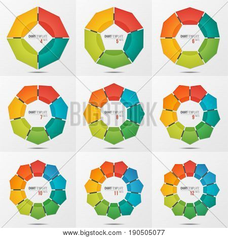 Set of polygonal circle chart infographic templates with 4-12 parts, options, steps for presentations, advertising, layouts, annual reports. Vector illustration.