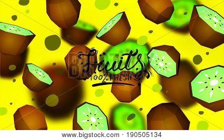 Creative background with low poly fruit. Illustration with polygonal kiwifruit.