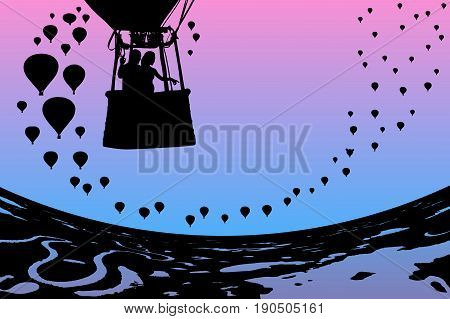 Lovers in balloon at dawn. Vector illustration with silhouette of loving couple under morning sky. Landscape with hot air balloons flying over rivers and lakes. Bright gradient background