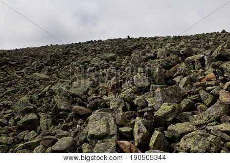 Panoramic view of the mountains and cliffs South Ural. Summer in the mountains. Travel. Wild nature
