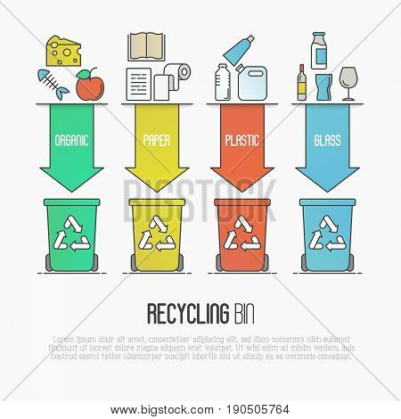 Recycling ecological concept with four colored waste bins that illustrates types of segregation: organic, paper, plastic, glass garbage. Modern flat thin line vector illustration.