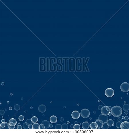 Random Soap Bubbles. Abstract Bottom With Random Soap Bubbles On Deep Blue Background. Vector Illust