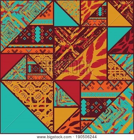 Seamless colorful african pattern background with triangles