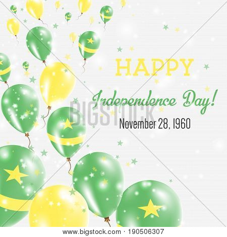 Mauritania Independence Day Greeting Card. Flying Balloons In Mauritania National Colors. Happy Inde