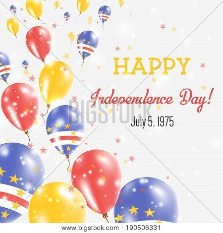 Cape Verde Independence Day Greeting Card. Flying Balloons In Cape Verde National Colors. Happy Inde