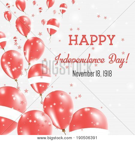 Latvia Independence Day Greeting Card. Flying Balloons In Latvia National Colors. Happy Independence