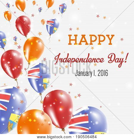 Saint Helena Independence Day Greeting Card. Flying Balloons In Saint Helena National Colors. Happy